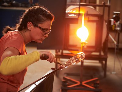 """Annette Sheppard, one of the ten glassmakers competing on """"Blown Away."""""""