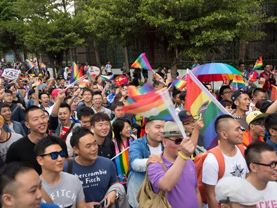 Photograph from the 2015 LGBTQ Pride celebration. Upward of 60 000 people took to the streets of Taipei for the annual Pride march, the largest such event in Asia.