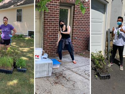 Rachael Brenneman (left), Julia Smith (center), and Skye Austin (right) pose with supplies for their remote research projects. Photo: Amy Hruska