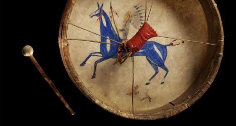 A Lakota painted drum