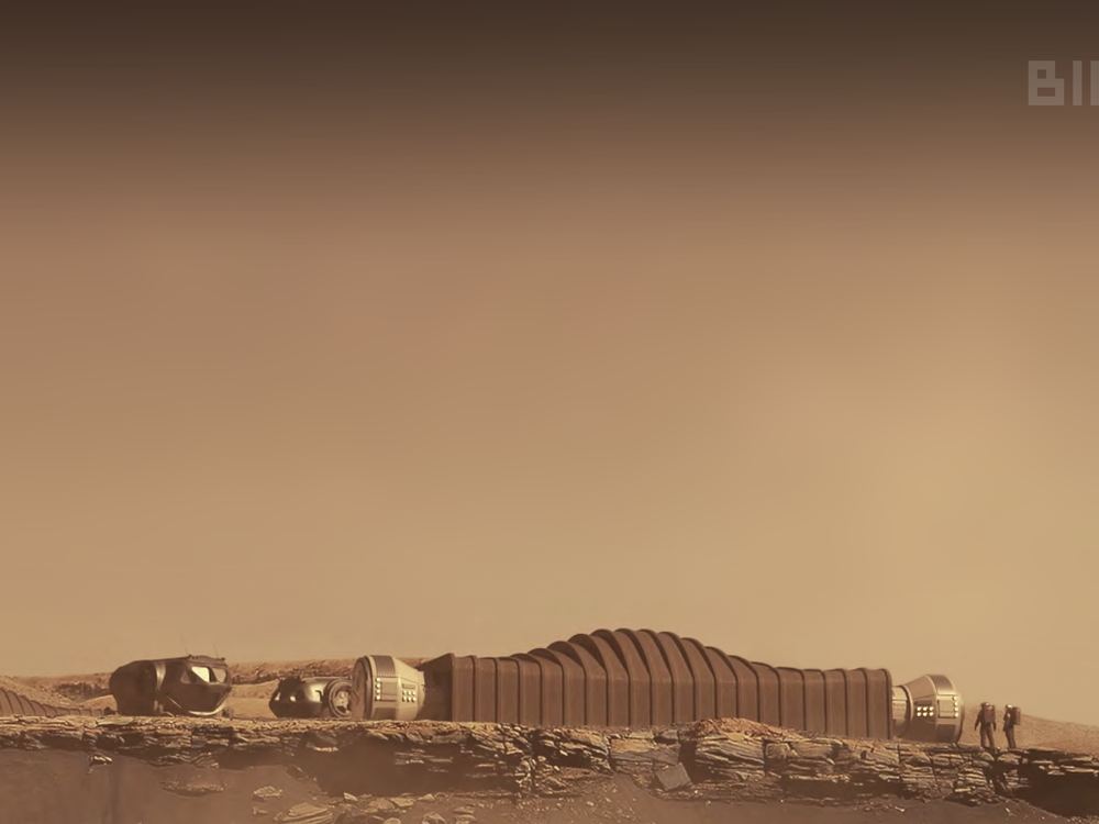 An image of a rendering of a habitat on the surface of plant Mars. The photo has a sepia tone and shows a habitat situated on a desert like surface.