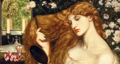 """Rossetti identified the subject of his Lady Lilith painting as Adam's first wife—""""the witch he loved before the gift of Eve."""" The work (1866-68) was altered in 1872-73 to please patron Frederick Leyland. The original model was Rossetti's lover Fanny Cornforth."""