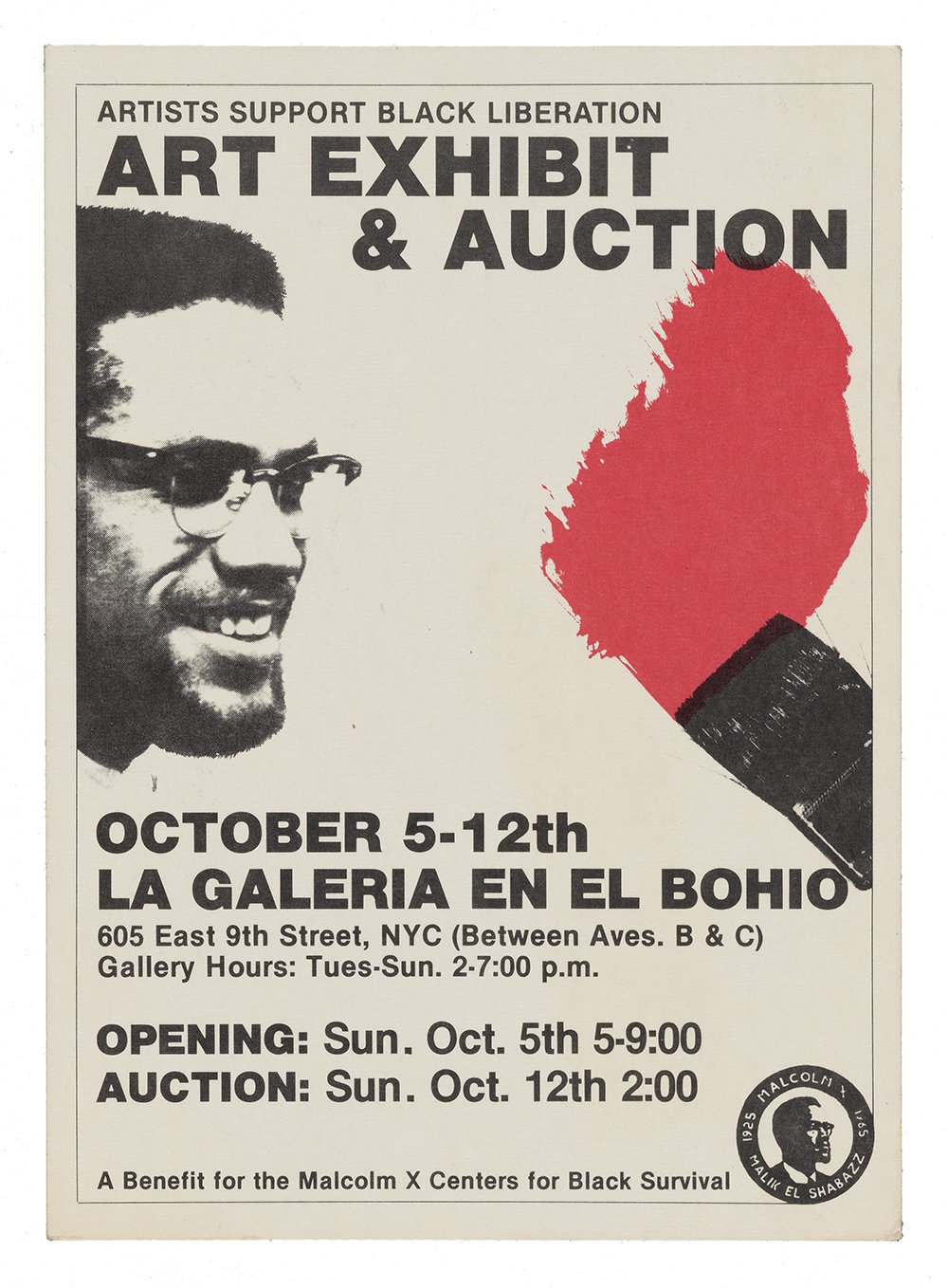 Poster with black text and graphics of Malcolm X and a black paintbrush making red marks.