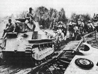 Japanese tank column advancing in Bataan
