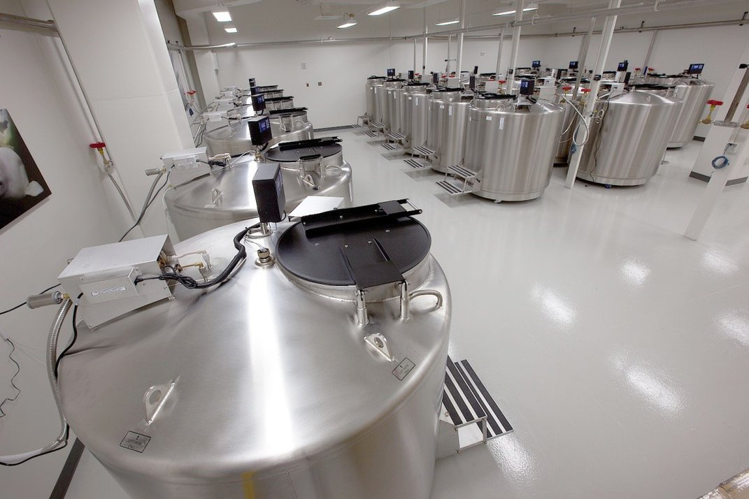 Room full of silver freezer tanks.