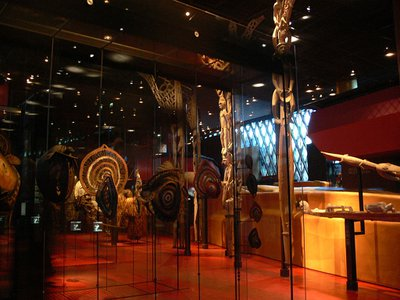 A display in Paris' Musée du Quai Branly–Jacques Chirac, which houses hundreds of thousands of artifacts from non-European cultures