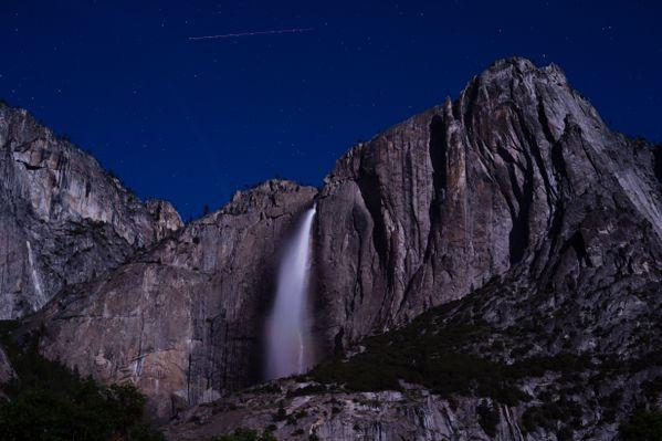 A shooting star over Yosemite falls. thumbnail