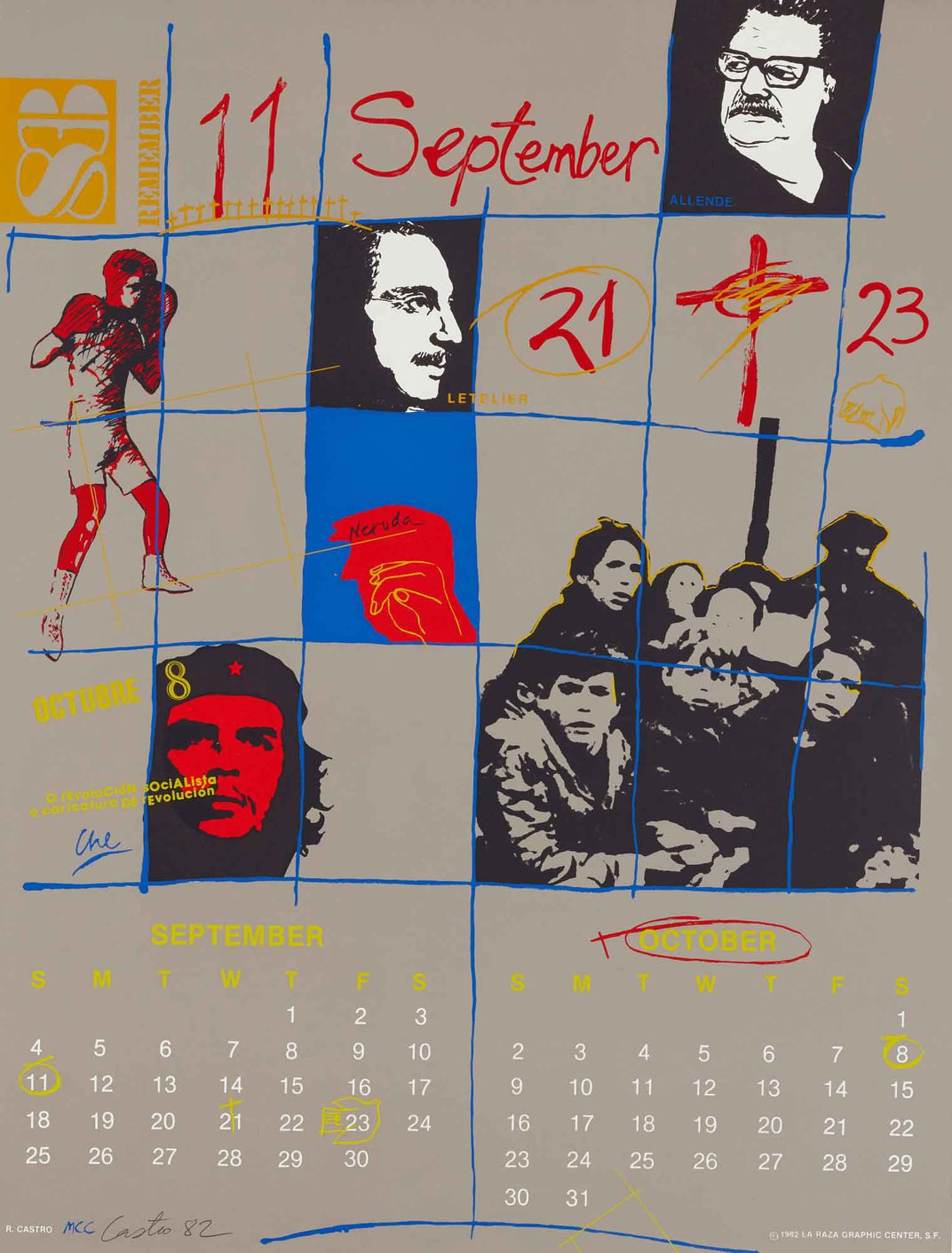 Calendar page showing different historical figures