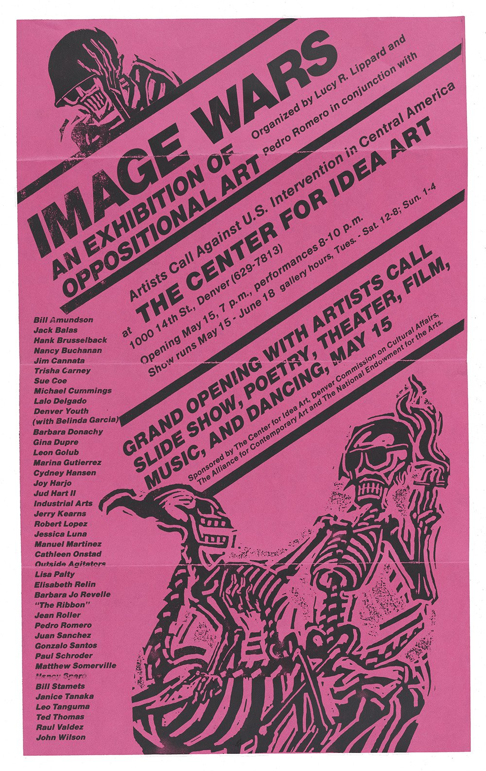 Flyer with text and graphics of skeletons printed in black ink on red paper.