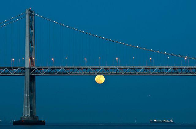 A Supermoon in 2009 rises below the San Francisco Bay Bridge.