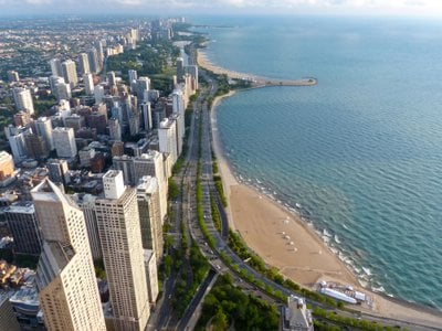A portion of Chicago's newly renamed Jean Baptiste Point DuSable Lake Shore Drive, pictured in 2013