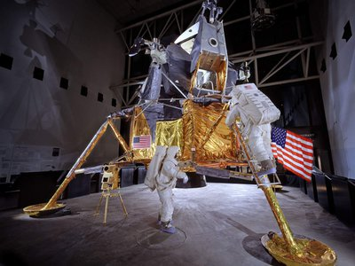 """Although the lander may appear """"flimsy and gangly,"""" says NASM curator Allan Needell, the craft represents """"a very pure design built for a very specific mission."""""""