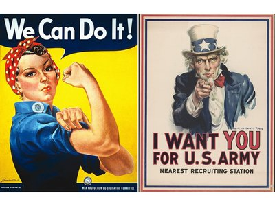 Rosie the Riveter by J. Howard Miller, 1942; Uncle Sam by J. M Flagg, 1917