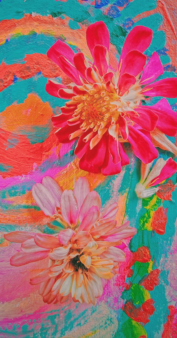 Zinnias on an abstract painting thumbnail