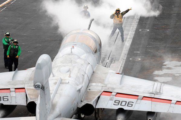 Grumman EA-6B directed to the starboard catapult aboard USS Abraham Lincoln. thumbnail