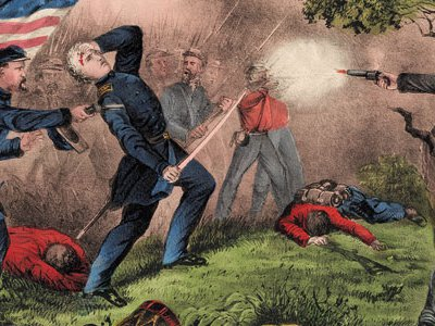 The Union is defeated at Ball's Bluff, where Col. Edward D. Baker becomes the only U.S. senator to be killed in battle as illustrated here in Death of Col. Edward D. Baker: At The Battle of Balls Bluff Near Leesburg, Va., October 21st, 1861.