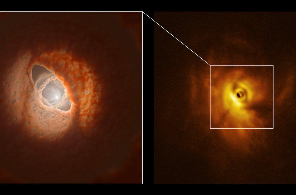 Left, a small bright spot surrounded by three rings of orange dust and cloud, including an inner ring that juts our nearly perpindicular to the others; right, a bright orange swirl of gases and dust