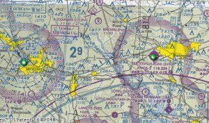 VFR Sectional chart showing Statesville airport (Barrett's Mountain airport is now apparently a private field named Little Mountain Airport)