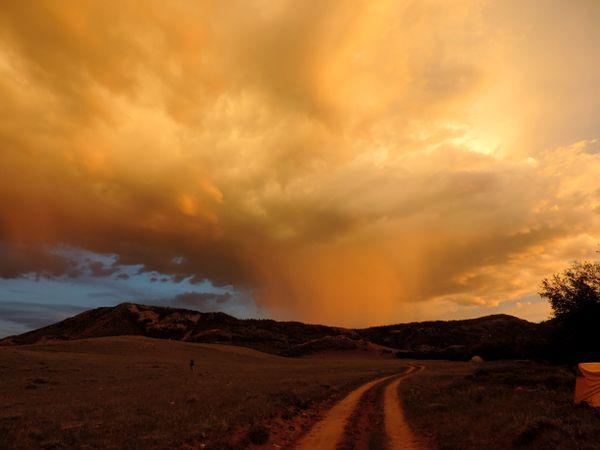 Brewing thunderstorm outside of Laramie, Wyoming thumbnail