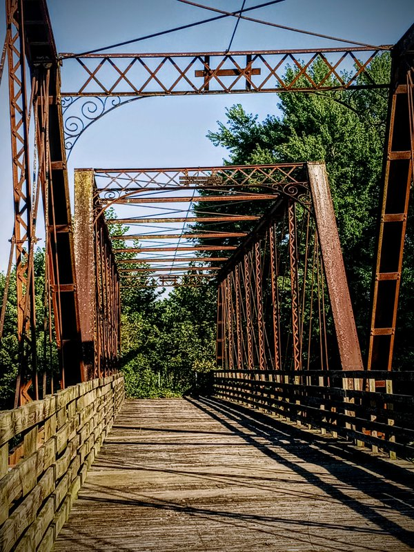 Old steel and wooden bridge in Vallonia Indiana thumbnail