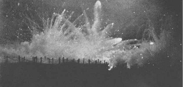 A nighttime German barrage on Allied trenches at Ypres