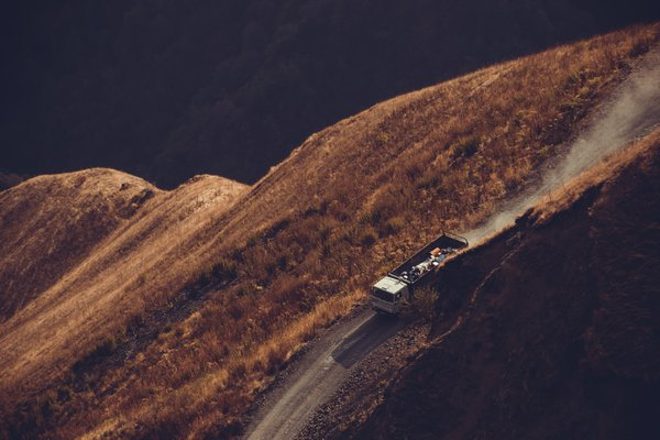 A truck is driving along one of the most dangerous road in the world. thumbnail