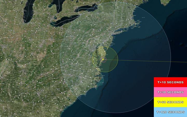 The potential viewing area for tonight's 11:27 pm launch from Virginia