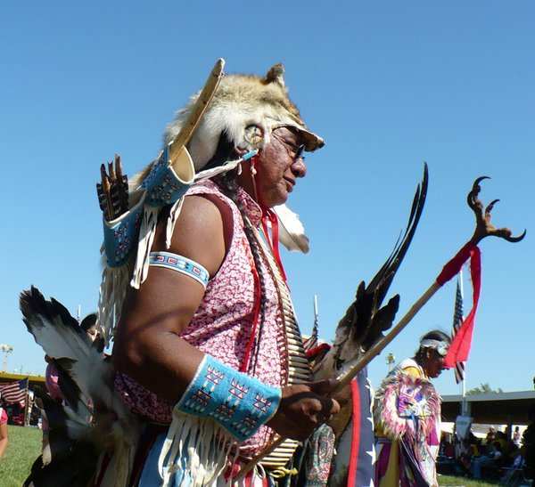 Golden Age Traditonal Dancer At A Pow Wow. thumbnail