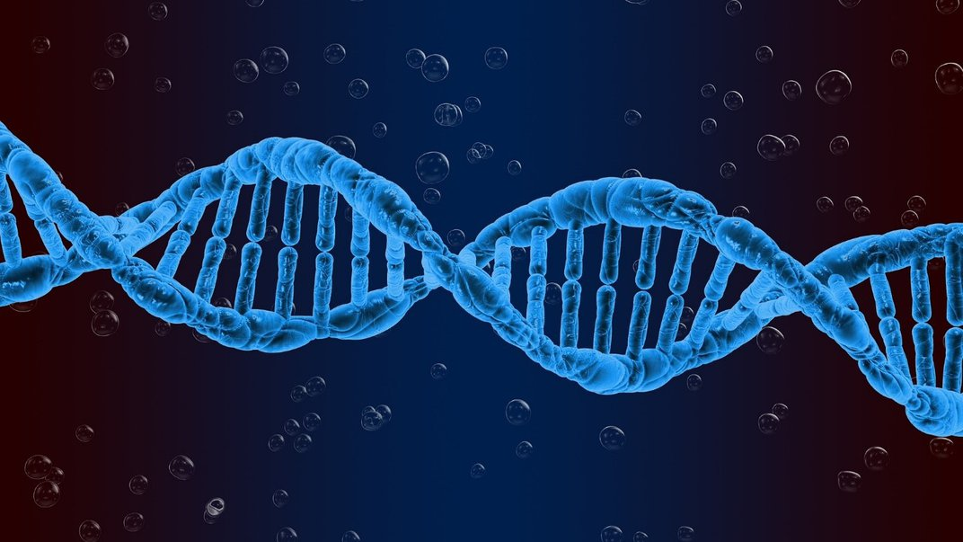 Digital design of a blue double helix DNA strand surrounded by clear bubbles.
