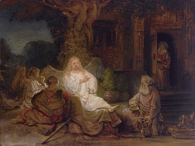 This small oil-on-panel work by Rembrandt, Abraham and the Angels (1646), is expected to sell for upward of $20 million.