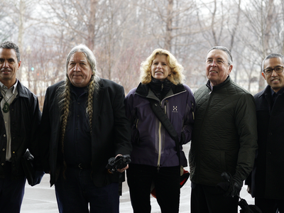Finalists in the design competition for National Native American Veterans Memorial to be built on the grounds of the National Museum of the American Indian in Washington, D.C. From left to right: Leroy Transfield (Māori: Ngai Tahu/Ngati Toa), Daniel SaSuWeh Jones (Ponca), Stefanie Rocknak, Harvey Pratt (Cheyenne/Arapaho), James Dinh; not shown: Enoch Kelly Haney (Seminole). (Travis Helms, National Museum of the American Indian, Smithsonian)