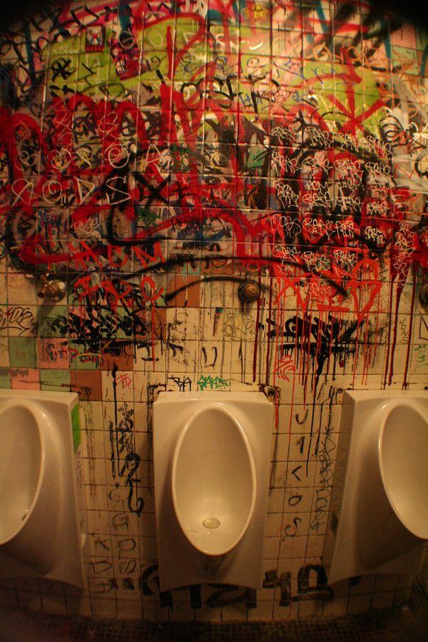 The Mens bathroom at the Phoenix in Petaluma, CA. thumbnail