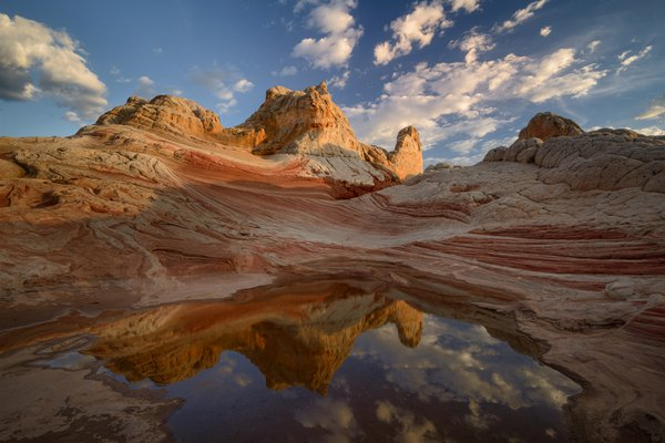 Sandstone formation and reflection at Sunset thumbnail
