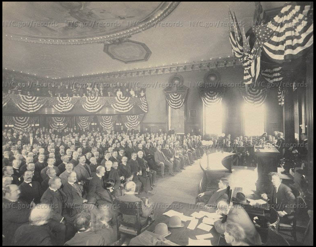 A 1904 meeting at City Hall during a discussion of the subway system.