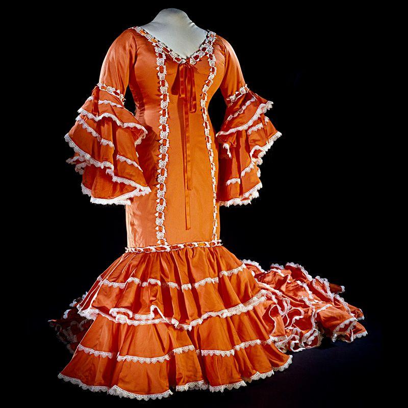Orange and white Cuban rumba dress