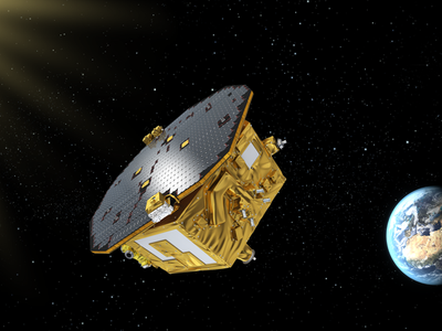 An artist's conception of the LISA Pathfinder spacecraft in orbit at Lagrange Point 1.