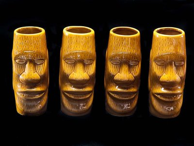 Typical of tiki bar serving ware were these ceramic mugs, now held in the collections of the Smithsonian's National Museum of American History.