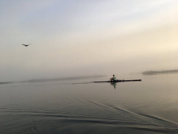 Foggy early morning rowing on Indian River thumbnail
