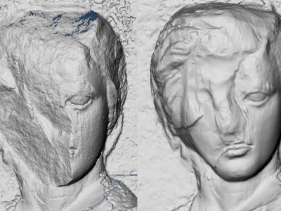The Elgin cast, seen on right, reveals sculptural details lost today.