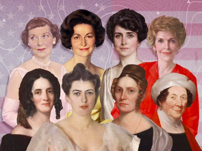 """A new exhibition """"Every Eye Is Upon Me: First Ladies of the United States"""" is on view at the National Portrait Gallery; clockwise from top left: Mamie Eisenhower, Lady Bird Johnson, Grace Coolidge, Nancy Reagan, Dolley Madison, Abigail Fillmore, Frances Cleveland and Sarah Polk."""