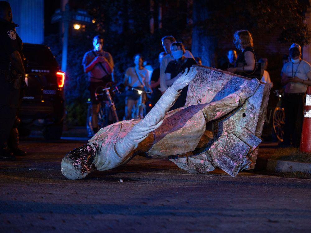 Toppled Jefferson Davis statue