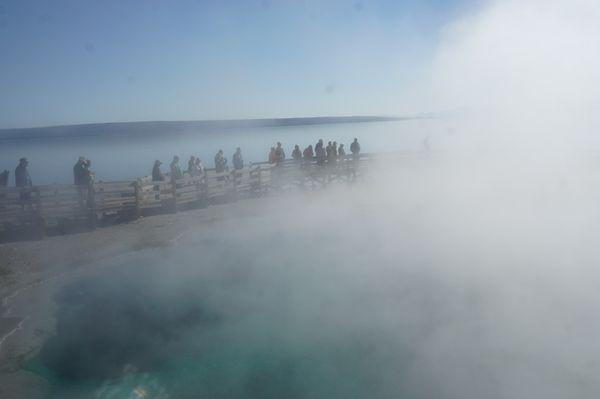 Walking across Yellowstone Geyser's steam. thumbnail