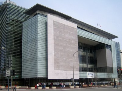 The 74-foot-tall slab will be installed at the National Constitution Center in Philadelphia.