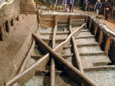 The elaborate construction of the pool, along with artifacts discovered inside of it, points to a ceremonial purpose.
