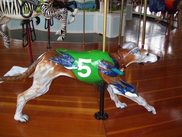 A unique figurine on this carousel, a running greyhound, showing the diversity of the the 52 figurines this carousel has created. thumbnail