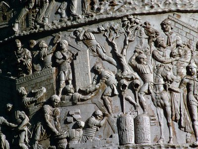 This detail from Rome's Trajan's Column hints at what the Roman soldiers who built the fort recently discovered near Trieste may have looked like.