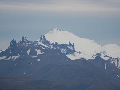 A view of the Aghileen Pinnacles & Pavlof Volcano from the Izembek National Wildlife Refuge.