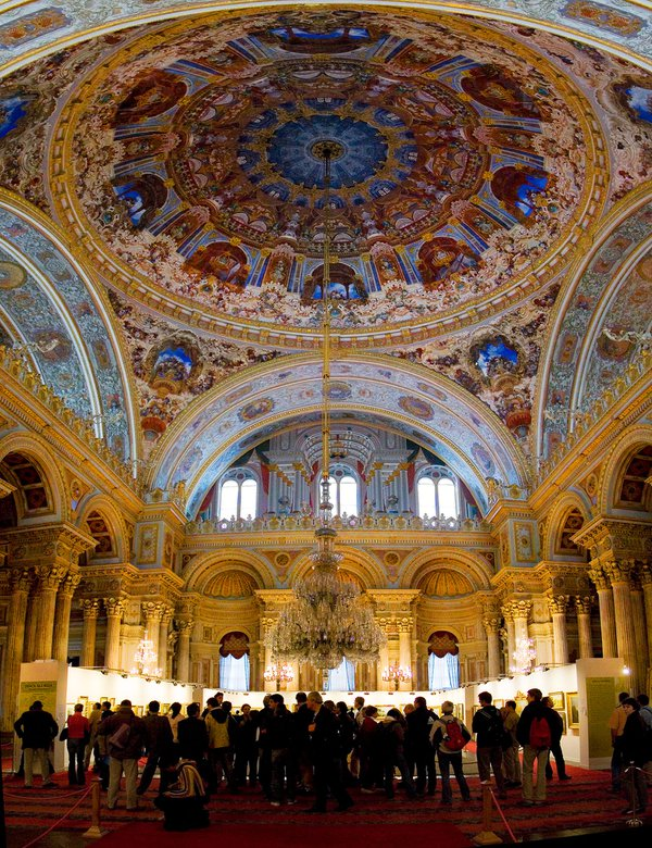 An art exhibition in grand ballroom of Dolmabahce palace in Istanbul, Turkey thumbnail