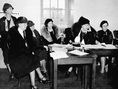 U.S. first lady Eleanor Roosevelt attends a meeting of the women's CWA officials at Warrenton, Virginia. January 26, 1934.