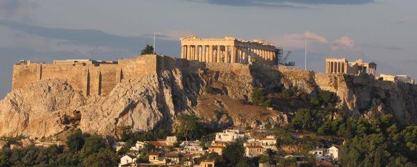 The Parthenon and Erectheion on the Acropolis in Athens, Greece thumbnail